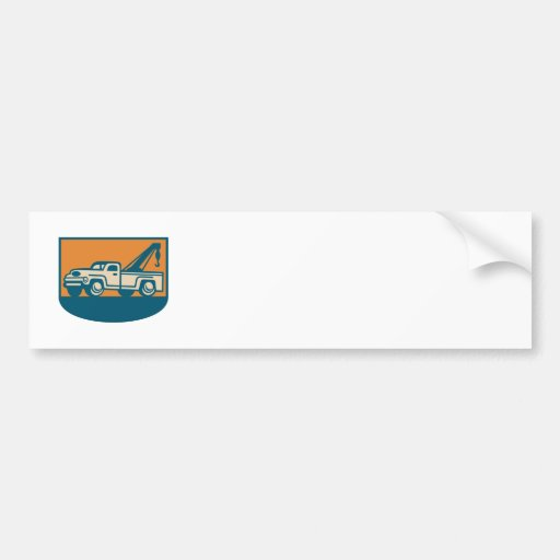 Vintage Tow Wrecker Pick-up Truck Bumper Stickers