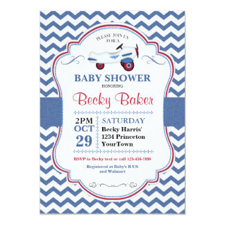Vintage Toy Airplane Baby Shower Invitation