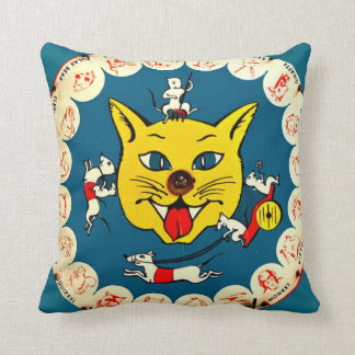 Vintage Toy Kitty Game w/big Cat on back Kids Room Throw Pillow
