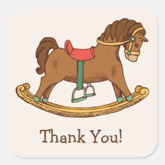 Vintage Toy Rocking Horse Retro Thank You Square Sticker