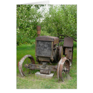 Vintage Tractor in Apple Orchard Card