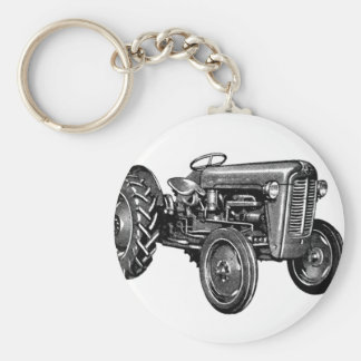 Vintage Tractor Basic Round Button Key Ring
