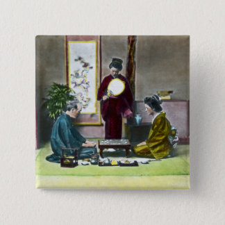 Vintage Traditional Japanese Mahjong 麻雀 15 Cm Square Badge