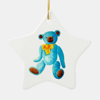 Vintage/Traditional Style Blue Painted Teddy Bear Ceramic Star Decoration