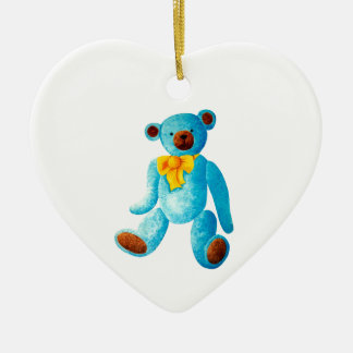 Vintage/Traditional Style Blue Painted Teddy Bear Ceramic Heart Decoration