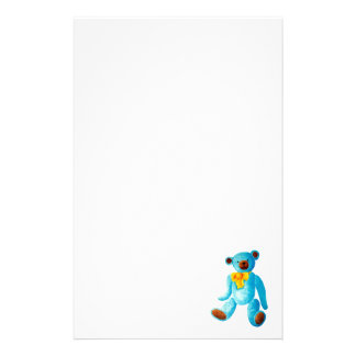 Vintage/Traditional Style Blue Painted Teddy Bear Stationery Design