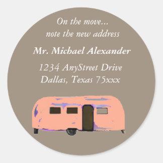 Vintage Trailer New Address Labels Round Sticker