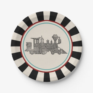 Vintage Train 7 Inch Paper Plate
