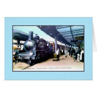 Vintage train arriving in Bellegarde Station Card