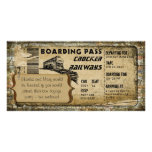 Vintage Train Boarding Pass Photo Cards