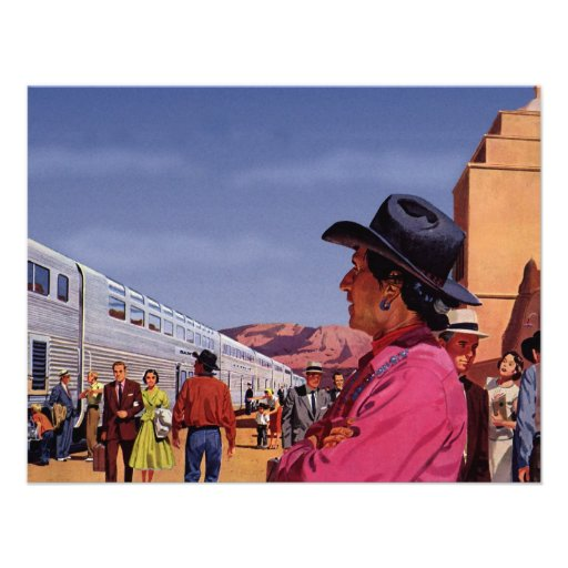 Vintage Train Station with Native American Indian Personalized Invites