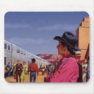Vintage Train Station with Native American Indian Mouse Pad