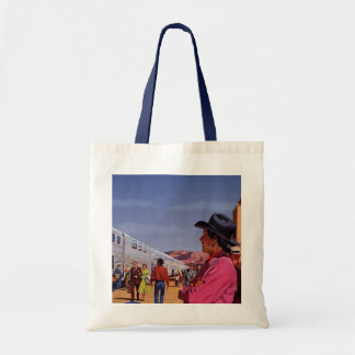 Vintage Train Station with Native American Indian Tote Bags