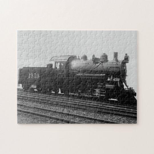 Vintage Train Steam Engine Rails Track Black White Jigsaw Puzzle