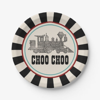 Vintage Train Ticket Paper Plate 7 Inch Paper Plate