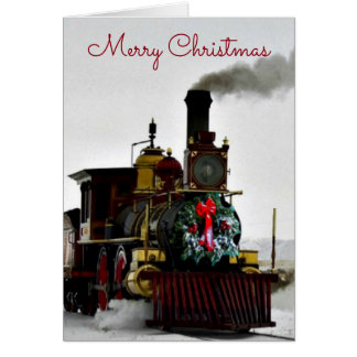 Vintage Train with Merry Christmas Greeting Card