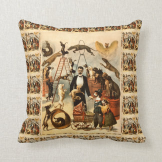 Vintage Trained Circus Dog Act Poster Cushion