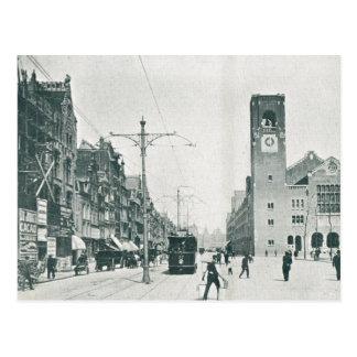 Vintage, Trams in a busy street, 1920s Postcard
