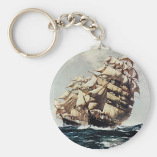 Vintage Transporation, Clipper Ships in Rough Seas Basic Round Button Key Ring