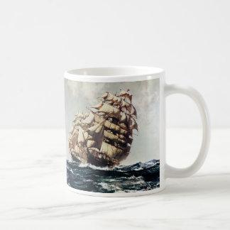 Vintage Transporation, Clipper Ships in Rough Seas Basic White Mug