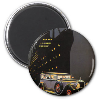 Vintage Transportation, Antique Car Cruise Ship 6 Cm Round Magnet