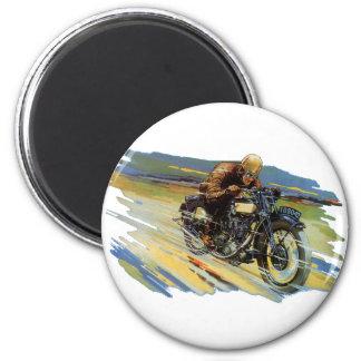 Vintage Transportation, Blue Racing Motorcycle 6 Cm Round Magnet