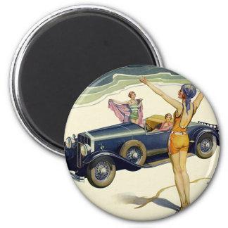 Vintage Transportation Convertible Car on Beach Magnet