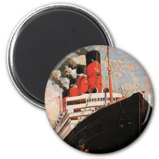 Vintage Transportation, Cruise Ship with Tugboat 6 Cm Round Magnet