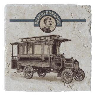 Vintage Transportation Travertine Trivet