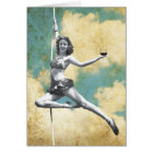 Vintage Trapeze Woman with Wine Card