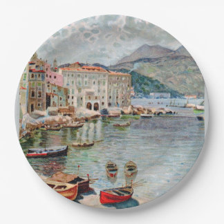 Vintage Travel 1920's Menton, French Riviera 9 Inch Paper Plate