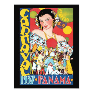 Vintage Travel 1937 Panama Carnival Party Woman 11 Cm X 14 Cm Invitation Card