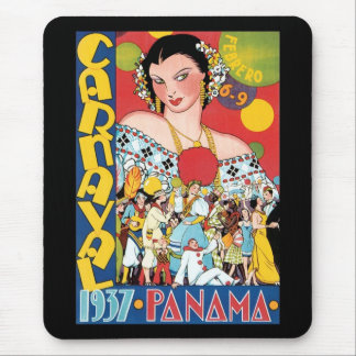 Vintage Travel 1937 Panama Carnival Woman Party Mouse Pad