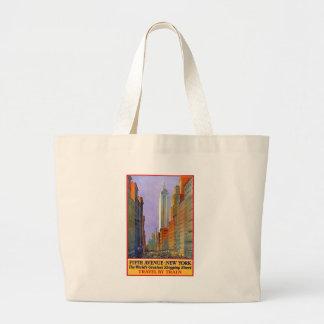 Vintage Travel 5th Avenue New York Large Tote Bag