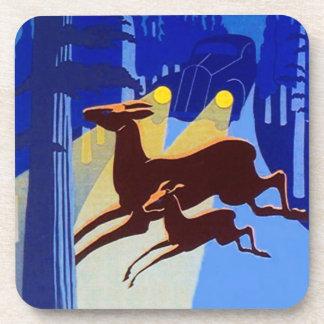 Vintage Travel Ad Coasters Deer In Headlights