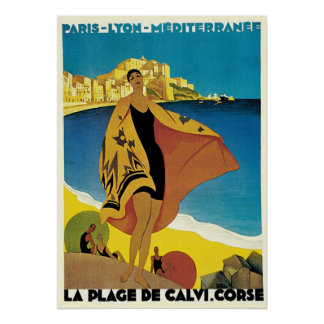 Vintage Travel Ads: La Plage de Calvi, Corsica Poster