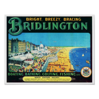 Vintage Travel Advert  Bridlington England 1890's Poster