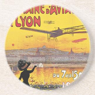Vintage Travel, Airplanes Air Show, Lyon, France Coaster