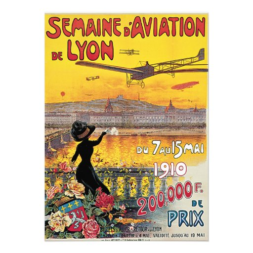 Vintage Travel, Airplanes Air Show, Lyon, France Custom Invite