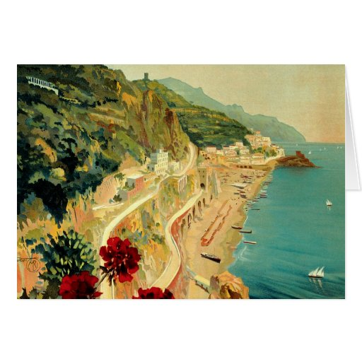 Vintage Travel, Amalfi Italian Coast Beach Greeting Card