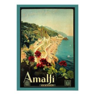Vintage Travel Amalfi Italian Coast Beach Custom Invitations