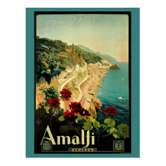 Vintage Travel, Amalfi Italian Coast Beach Postcard