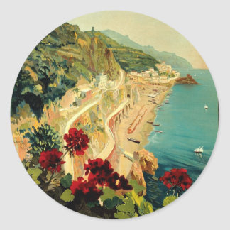 Vintage Travel, Amalfi Italian Coast Beach Round Sticker