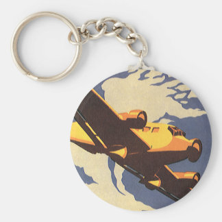 Vintage Travel and Transportation Airplane Flying Basic Round Button Key Ring