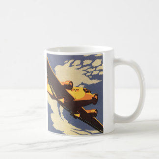 Vintage Travel and Transportation Airplane Flying Coffee Mug