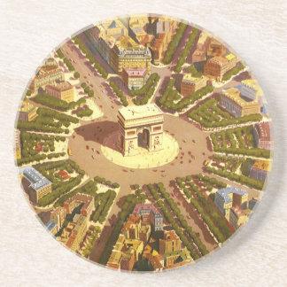 Vintage Travel, Arc de Triomphe Paris France Coaster