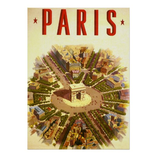 Vintage Travel, Arc de Triomphe Paris France Print