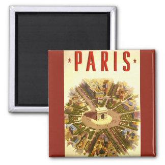 Vintage Travel, Arc de Triomphe Paris France Square Magnet