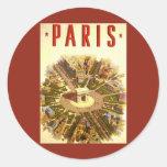 Vintage Travel, Arc de Triomphe Paris France Round Sticker