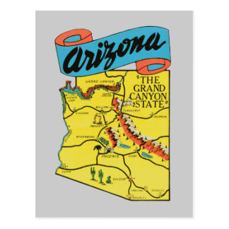 Vintage Travel Arizona AZ State Label Postcard